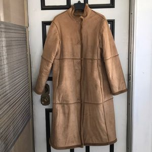 Lovely Vegan Shearling Washable Suede Coat